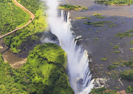Victoria Falls (or Mosi-oa-Tunya (Tokaleya Tonga: the Smoke that Thunders) is a waterfall in southern Africa on the Zambezi River at the border of Zambia and Zimbabwe.
